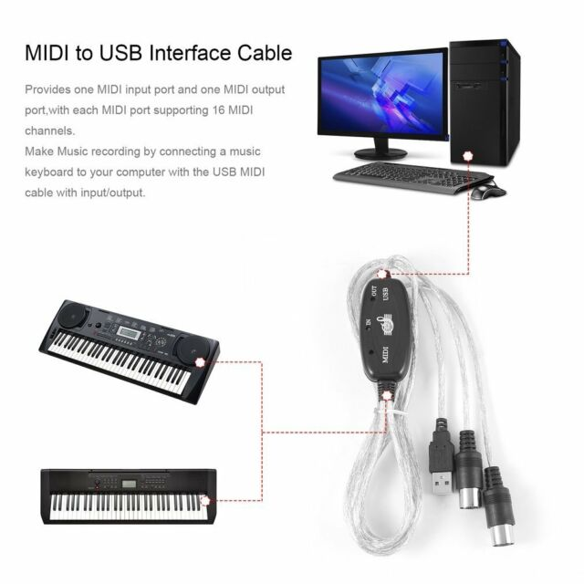 MIDI to USB Interface Cable Adapter for Keyboard Electronic Drum Music Create AC
