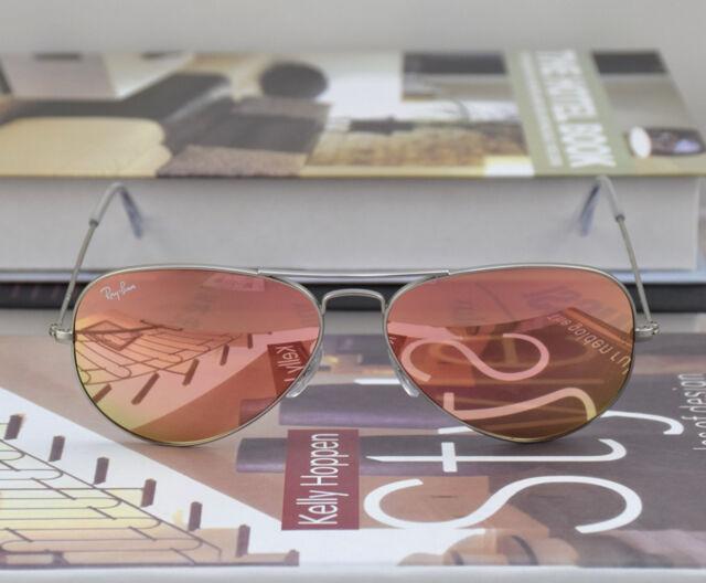 Ray Ban Sunglasses RB3025 019/Z2 Matte Silver frame Pink Coper Mirror lens 55mm