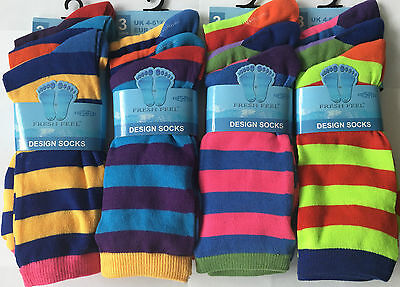 Ernst 6x Pairs Kids Boy Girl Designer Coloured Stripe Eveyday Print Fashion Socks Top Wassermelonen