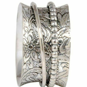 Solid-925-Sterling-Silver-Spinner-Ring-Statement-Meditation-Jewelry-Any-Size-d21