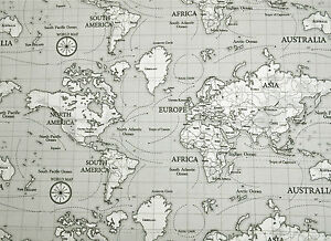 Fryetts maps grey atlas globe world map fabric curtain upholstery image is loading fryetts maps grey atlas globe world map fabric gumiabroncs