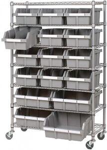 Image Is Loading Industrial Commercial Garage 16 BIN Rolling Storage  Shelving