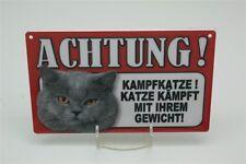 VORSICHT KAMPFKATZE GRAU - Tierwarnschild -  Warnschild 20x12 cm 45 KATZE CAT