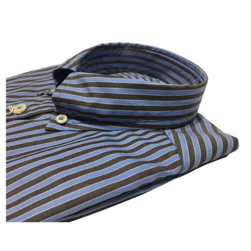 Manica Riga Camicia Cotone Uomo Lunga 100 moro Azzurro Brancaccio xSFaw