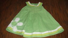BOUTIQUE NEXT BABY 6-9 GREEN FLOWER DRESS