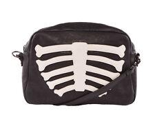 Iron Fist Black Faux Leather Wishbone Skeleton Clutch Bag