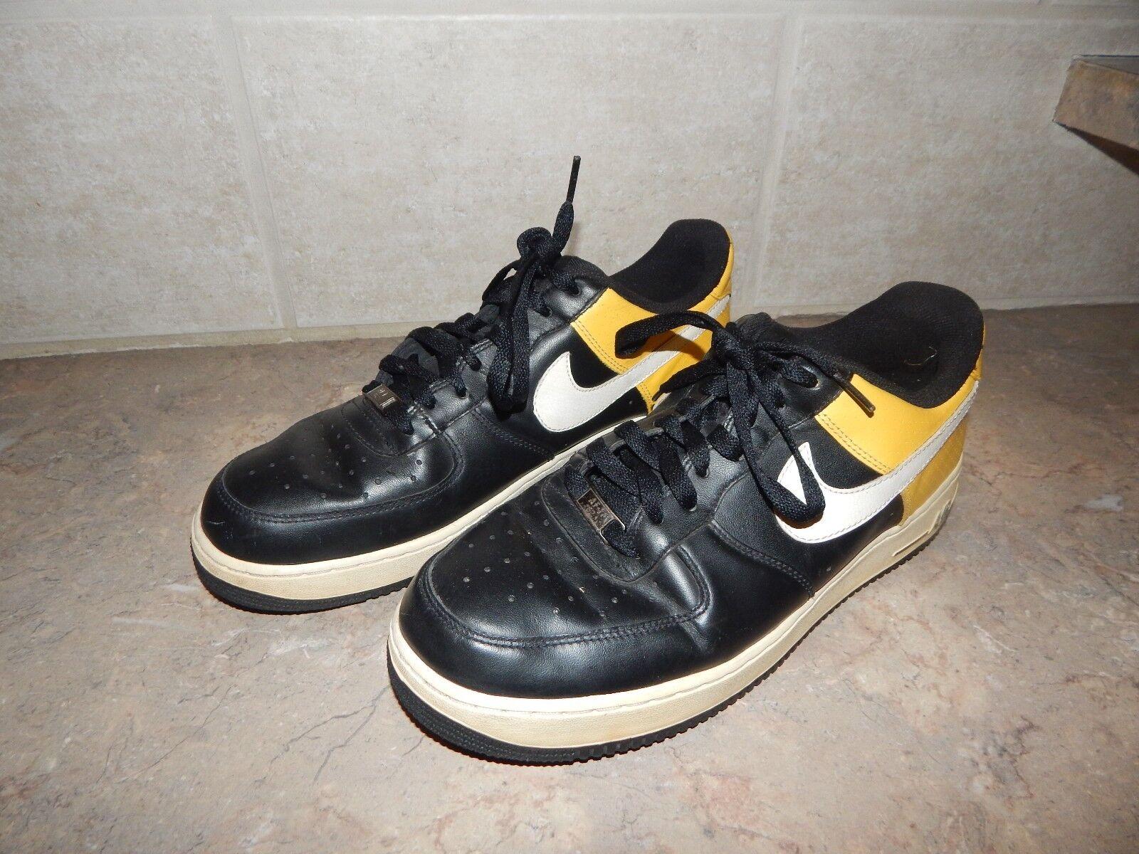 Los hombres de Nike negro Air Force 1 AF1 negro Nike amarillo Zapatillas Zapatos 315122-051 comodo f1a30f