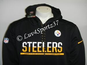 competitive price 34a58 ea73e Details about Pittsburgh STEELERS Football Black Nike Therma Fit HOODIE  Sweater MEN L or XL