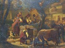 Original Ölgemälde Johann Friedrich Voltz 1817-1886 Cows Drinking Oil Painting