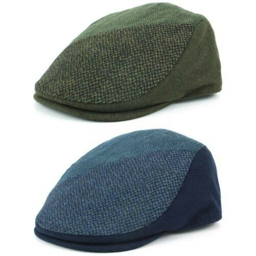 e470b7dd721 Tweed Flat Cap Hat BLUE GREEN Wool Hawkins Panel Fabric Patchwork  Herringbone