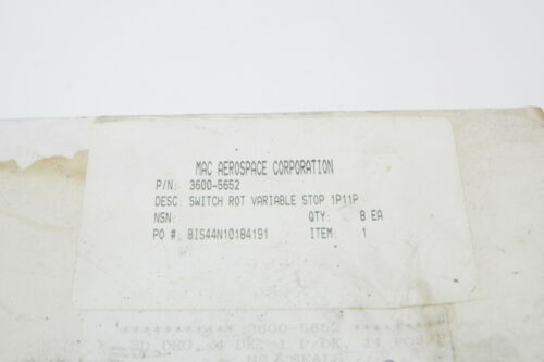 Cole 3600-3556 Rotary Switch Variable Stop 1P11P 11 Position