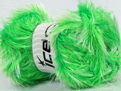 Neon Green /& White Long Eyelash Yarn #36738 Ice 100 gram Safari