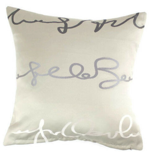 """Stone Beige with Grey Detail 18x18/"""" Cushion Covers 45x45cm BNWTS wth Zip Closing"""