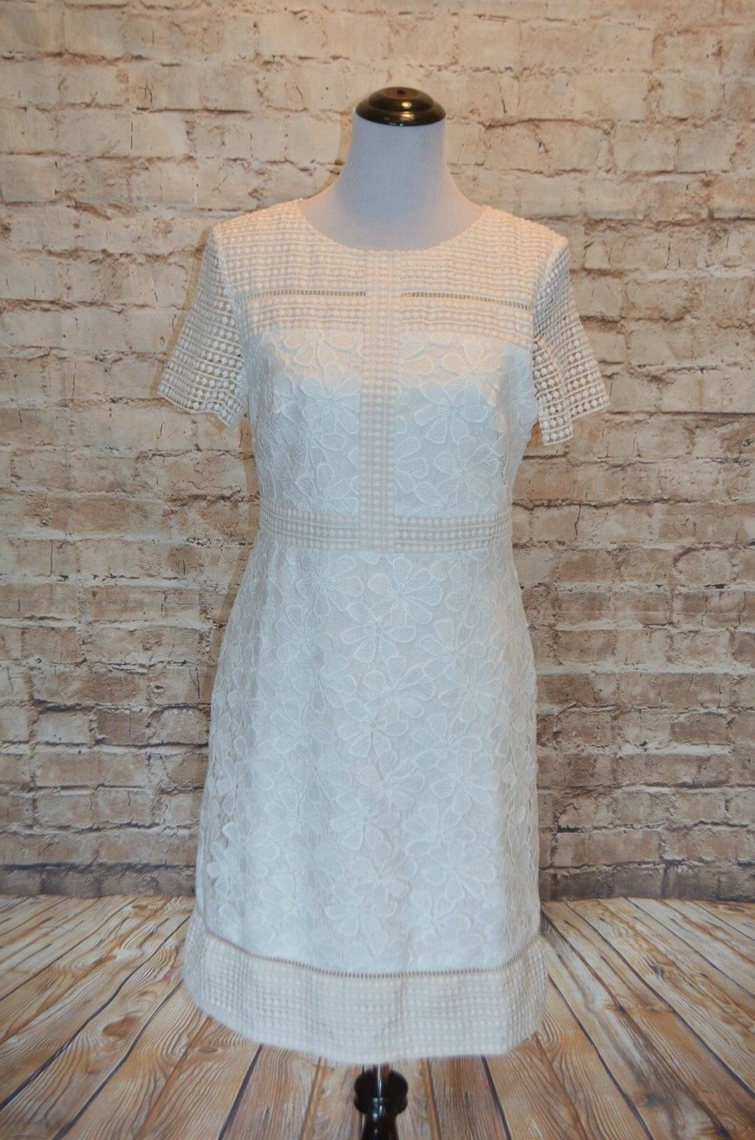Modcloth Offbeat Brunch Dress crochet Ivory NWOT 10 women Ricco