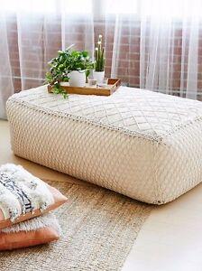 free people macrame pouf ottoman coffee table-nip | ebay