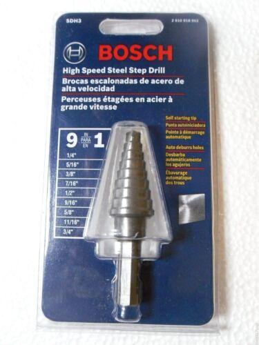 Bosch SDH3 1//4-3//4 High Speed Steel Step Drill Bit 9 Hole Sizes