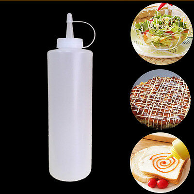 1X Useful Kitchen 8-32OZ Plastic Squeeze Bottle Condiment Dispenser Ketchup Tool