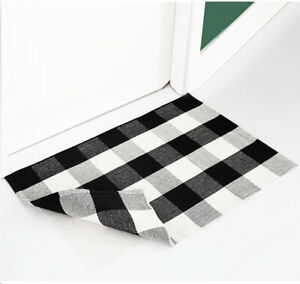 Buffalo-Plaid-Cotton-Rug-White-and-Black-Rug-Checkered-Carpet-with-nonslip-pad