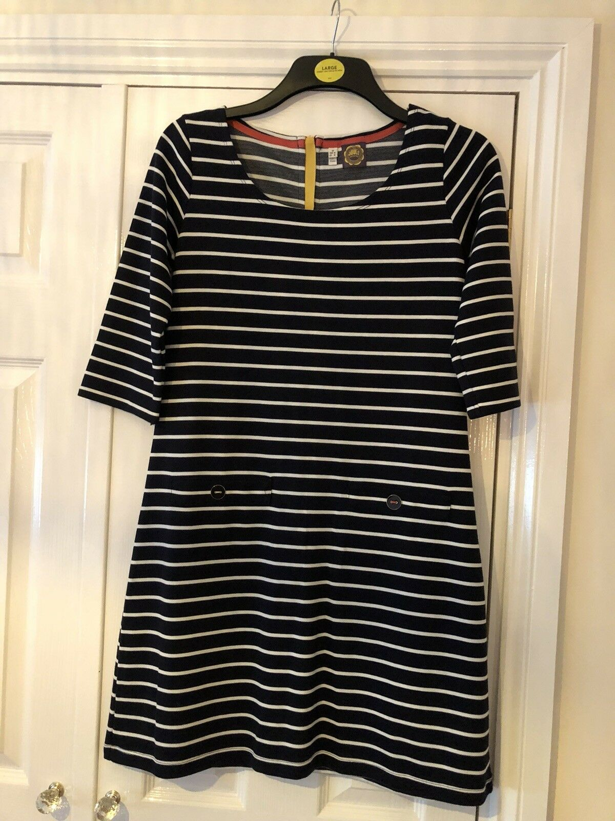 Ladies Size 12 Joules Stripped Navy And White Dress