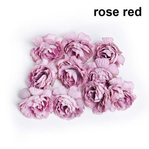 10Pcs 5cm Silk Peony Rose Flower Heads Bridal Wedding Bouquet Home Decoration