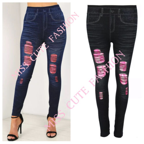 Donna Strappato Rosa Pizzo sottoposto Stretch Skinny Fit Denim Jeggings Pantaloni