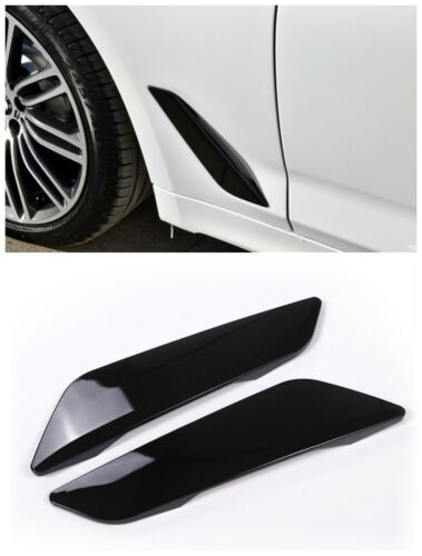 Gloss Black Side Fender Cover Air Vent Frame Trim For BMW 5 Series G30 2017 2018