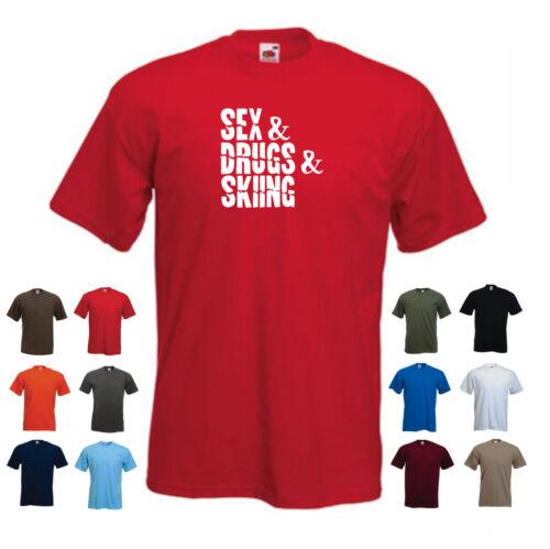 /'Sex /& Drugs /& Skiing/' Funny Men/'s Skiing Custom T-shirt