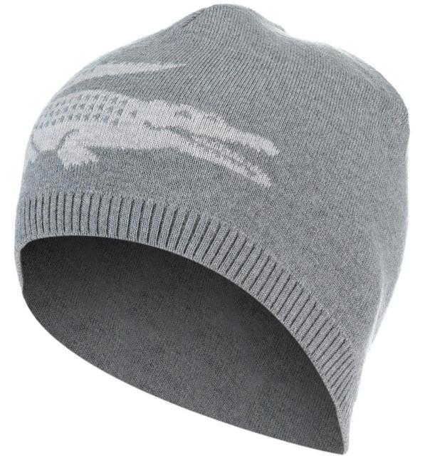 NEW MEN/'S LACOSTE BIG CROC LOGO GREY WOOL BEANIE HAT CAP REVERSIBLE RB3531