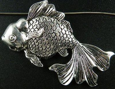 6pcs Tibetan Silver Fish Pendants Charms 55x33mm zn26222