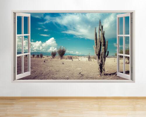 Wall Stickers Desert Cactus Mountains Blue Window Decal 3D Art Vinyl Room H513