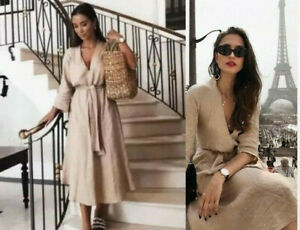 Zara Woman Blogger Leinen Kleid Midi Sand Linen Dress Wit Belt Nude Beige Ebay
