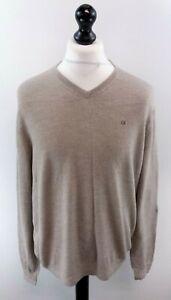 CALVIN-KLEIN-Mens-Jumper-Sweater-L-Large-Brown-Italian-Merino-Wool