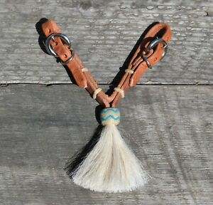 Jose-Ortiz-Harness-Natural-Turquoise-Rawhide-White-Tassel-Curb-Strap-Buckle
