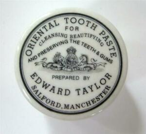 Antique Ironstone Tooth Paste Jar Oriental Edward Taylor Manchester Black White