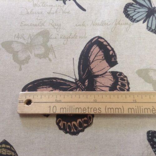 Butterfly//Papillon Beige//Gris//Noir Lin Rideau//CRAFT//Brosse Tissu