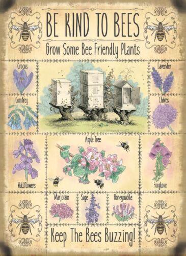 """Nouveau /""""être Bon pour les abeilles croître Bee Friendly plants/"""" TOLE PUBLICITAIRE 30x40cm"""