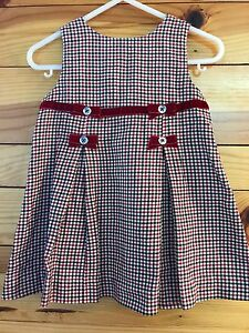 GYMBOREE-Girls-HOLIDAY-MEMORIES-Plaid-Pleated-Bow-Jumper-Dress-Sz-6-12-Months