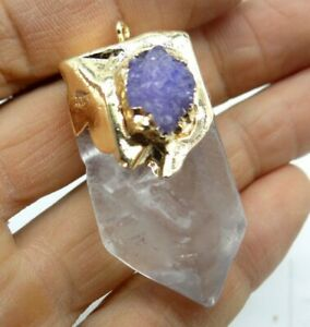 45-23MM-Natural-White-crystal-pendant-Gemstone-Making-jewelry-necklace-C286