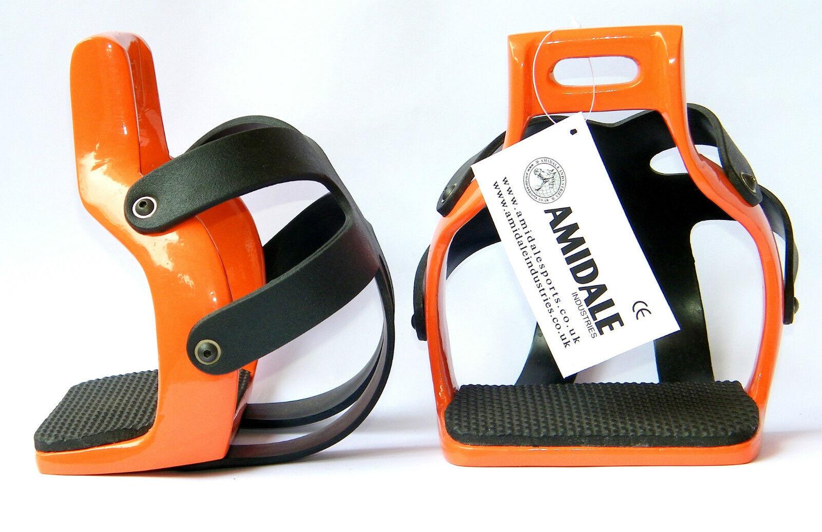 AMIDALE ALUMINIUM ENDURANCE FLEX RIDE CAGED SAFETY HORSE STIRRUPS orange COLOR