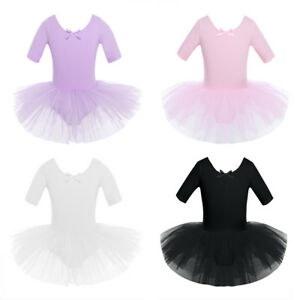 Girls Gymnastics Ballet Dress Kids Leotard Tutu Skirt Dance Ballerina Costume
