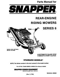 Snapper Lawn Mower Rear Engine Series 6 Repair Parts Manual | eBay | Rear Engine Diagram |  | eBay