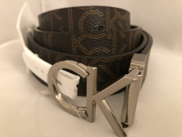 Calvin Klein Women s Twist Reversible Ck Logo Buckle Brown Leather ... 8b2efa758e7