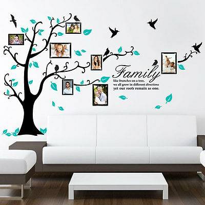 FAMILY GENEALOGICAL TREE BIRDS WALL QUOTE VINYL STICKER ART PHOTO  BEDROOM