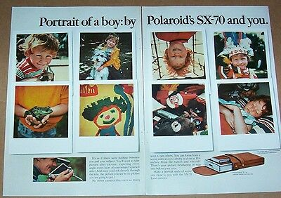 1974 print ad - Polaroid Land Cameras little Boy Indian cute shaggy dog frog AD