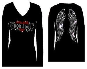 44eb19e32 Bon Jovi Todas As Asas De Anjo Com Strass Manga Longa Decote V ...