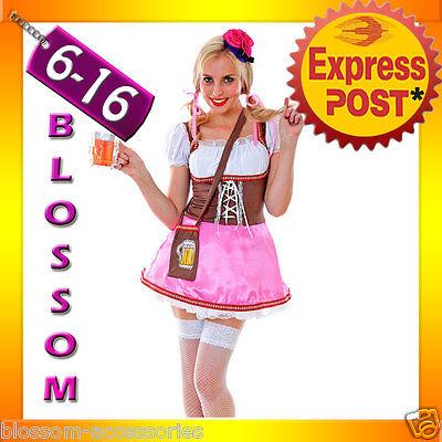 G52 Dirndl Oktoberfest + Beer Bag Ladies German Beer Maid Fancy Dress Costume
