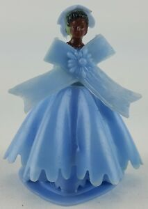 6-PACK-LOT-BRIDES-MAID-AFRICAN-AMERICAN-CAKE-TOPPER-IN-BLUE-DRESS-2-034-TALL-BLACK