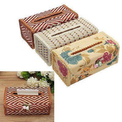Bamboo Handmade Flower Decor Tissue Box Napkin Cover Holder Toilet Paper Case