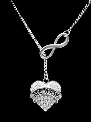 Memaw Love You To The Moon Silver Chain Necklace Heart Jewelry Grandmother Gift
