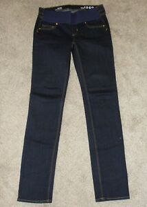 NWT Gap 1969 Real Straight Maternity Womens Dark Denim Full Panel Jeans Sz 26 R